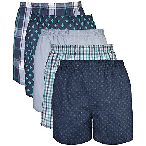 Gildan Men's Woven Boxer Underwear, Assorted Navy (5-Pack), Large