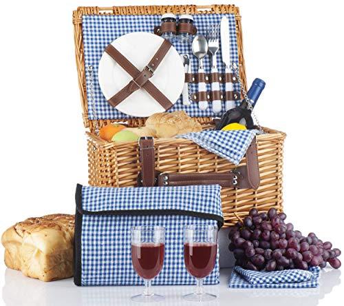 Picnic Basket Set - 2 Person Picnic Hamper Set - Waterproof Picnic Blanket Ceramic Plates Metal Flatware Wine Glasses S/P Shakers Bottle Opener Blue Checked Pattern Lining Picnic Set   Picnic Tote