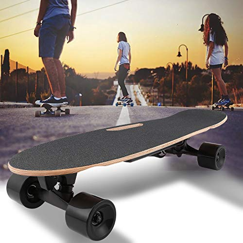 OppsDecor Electric Skateboard Youth Electric Longboard with Remote Control for Adults, 7 Layers Maple Longboard, 12 MPH Top Speed, 10 Miles Range (Dark Black)