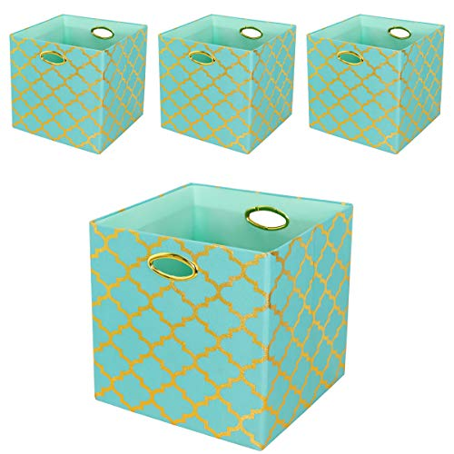 Posprica Storage Bins, 13×13 Foldable Storage Cubes Baskets Boxes Containers Closet Organizers,More Durable Fabric Drawers (4pcs, Aqua/Gold Lantern)