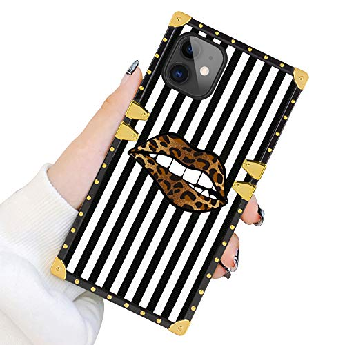 Square Case for iPhone 11 2019 6.1 Inch Leopard Lips Luxury Elegant Soft TPU Shockproof Protective Metal Decoration Corner Back Cover Case iPhone 11 Case