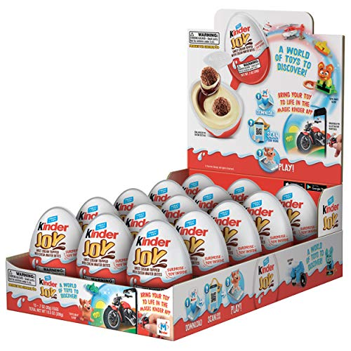 Kinder JOY Eggs, 15 Count Individually Wrapped Chocolate Candy Eggs With Toys Inside, Christmas Stocking Stuffer Surprise for Kids, 10.5 oz; PACKAGING MAY VARY