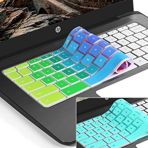 [2pack] Keyboard Cover Skin for hp chromebook 14,hp 14 inch Touch-Screen Chromebook,hp Chromebook 14-ak,14-ca Series,hp Chromebook 14 G2 G3 G4 Series,Ultra Thin Silicone Keyboard Cover(Rainbow+Mint)