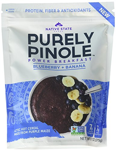 Purely Pinole Gluten Free Hot Cereal & Smoothie Supplement, Blueberry + Banana Flavor (Pack of 6)