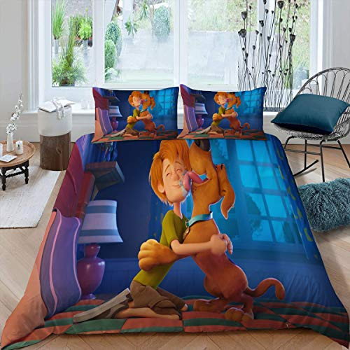 Comforter Bedding Set 3 Piece Set, Scoob Microfiber Duvet Cover Set Duvet Cover + 2 Pillow Shams with Zipper Closure Ultra, Twin (68x88 inches) Movie Kids Shaggy and Scooby Doo