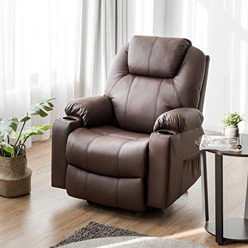 Giantex Power Lift Recliner Chair for Elderly, Faux Leather Electric Recliner w/Massage and Heating, 3 Positions, Side Pockets and Cup Holders, USB Ports, Remote Control, Motorized Home Theater Seat