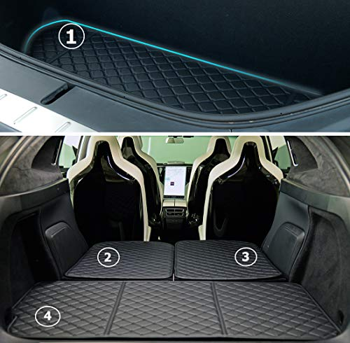 Topfit Model X 6 seat and 7 Seat Front and Rear Trunk Mat and 3rd Row Seat Back Protector Mats for Tesla Model X (2016-2020) Models - Laser Measured (4 Pcs)