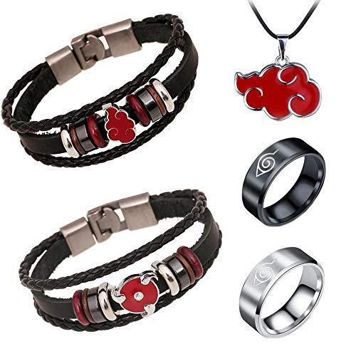 Jintoong 5Pcs Naruto Bracelet Akatsuki Uchiha Itachi Cosplay Accessories Jewelry Red Cloud Metal PU Leather Wristband Bracelet Prop with Necklace Ring