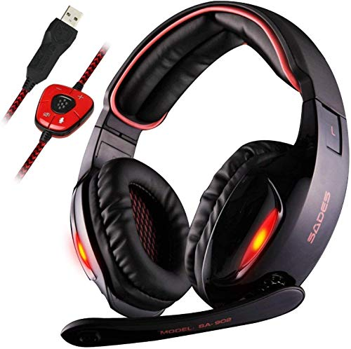 Sades USB 7.1 Stereo Gaming Headset for PC, Noise Cancelling Over Ear Headphones with Mic &LED Light for Laptop Mac Computer Games
