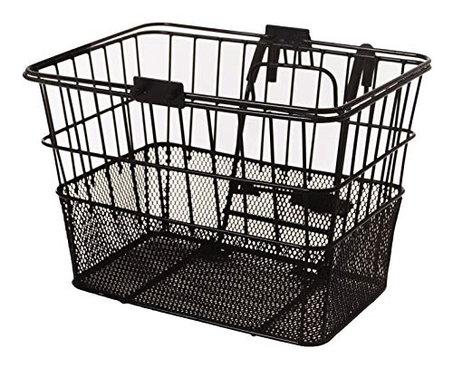 Retrospec Bicycles Detachable Steel Half-Mesh Apollo Bike Basket with Handles, Black