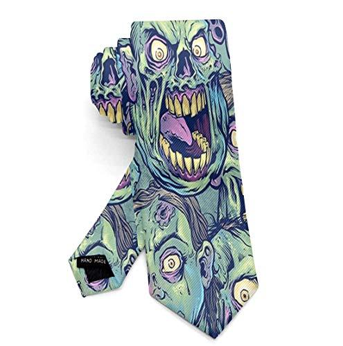 Boys Skinny Neckties for Uniform/Suit/Shirts, Novelty Party Dances Prom Green Zombie Necktie