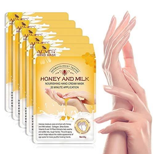 Hand Peel Mask, (5 Pack) Honey and Milk Gloves, Moisturizing Natural Therapy Gloves, Exfoliating Hand Peeling Mask for Dry Hands, Repair Rough Skin for Men Women