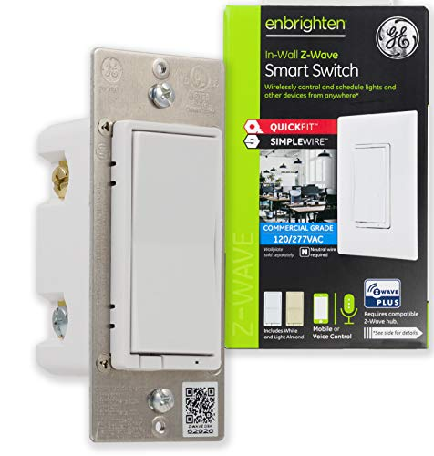 GE Enbrighten Z-Wave Plus Smart Switch with QuickFit and SimpleWire, In-Wall Commercial Grade 120/277 VAC, Z-Wave Hub Required, Works with Ring, SmartThings, Alexa, 43072