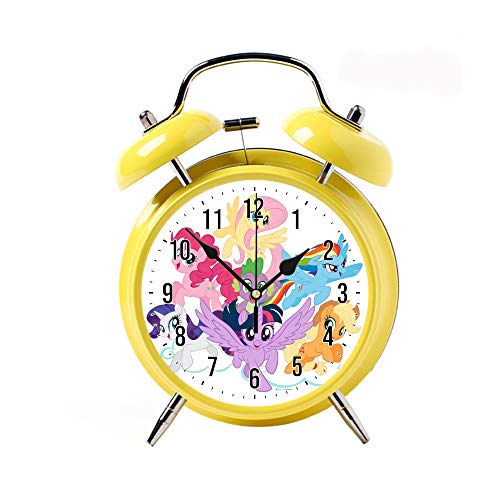 Children's Alarm Clock 5 Colors Retro Silent Pointer Clocks Round Bell Loud Yellow Alarm Clock Bedside Night Light Home Decors My Little Pony Mane Six on Clouds