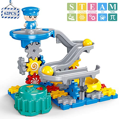 Temi Police Gear Toys Building Set, 62 PCS STEM Marble Run Race Track Set Motorized Spinning Gears Slide with 3 Balls, Interlocking Educational Building Blocks, Gifts for Kids Toddlers Boys and Girls