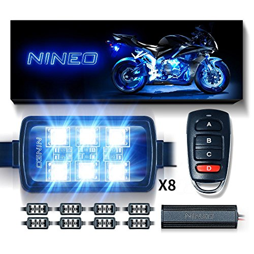 NINEO Motorcycle RGB LED Strip Lights Kit Multi-Color Neon w/Remote Controller Compatible with ATV UTV Cruiser Harley Davidson Ducati Suzuki Honda Triumph BMW Kawasaki Yamaha (Pack of 8)