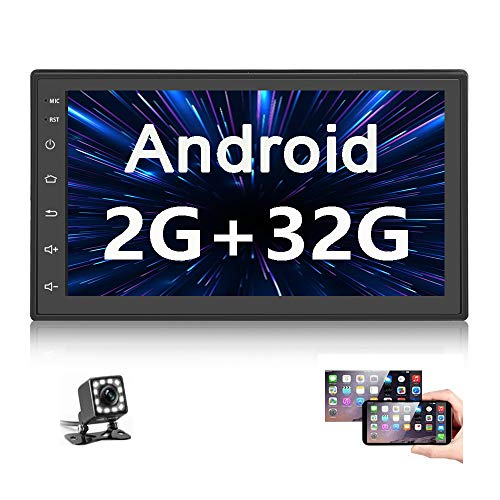 Double Din Car Radio GPS Navigation Android Head Unit 7' HD Touch Screen Indash Car Stereo Support Dual USB, Bluetooth, WiFi, FM, Mirror Link with Rear Camera (2G+32G)