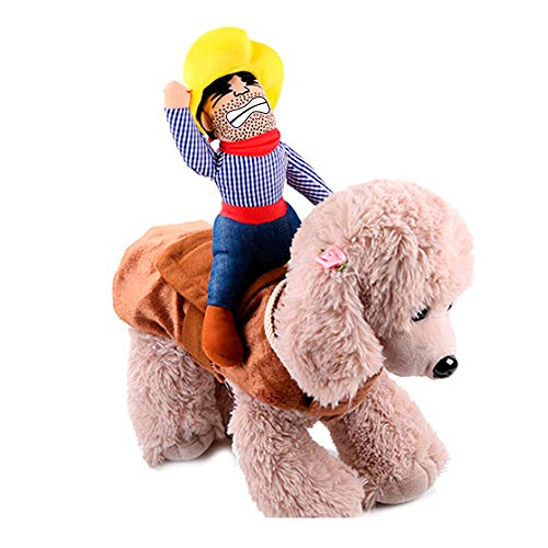 IAXSEE Halloween Costume for Dogs Cowboy Rider Dog Costume for Halloween Pet Costume Dog Saddle Clothes Knight Style with Doll and Hat (X-Large)