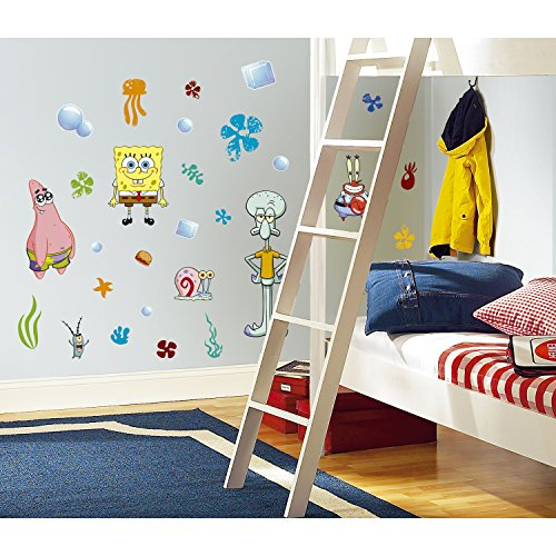 RoomMates Spongebob Squarepants Peel and Stick Wall Decals - RMK1380SCS,Multi,10 inch x 18 inch