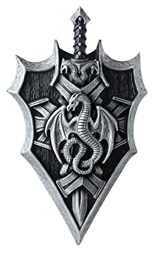 California Costumes Men's Dragon Lord Shield & Sword, Silver/Black, One Size