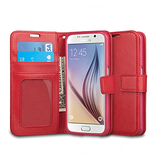 J&D Case Compatible for Samsung Galaxy S6 Case, Wallet Stand Slim Fit Heavy Duty Protective Anti-Shock Flip Cover with Card Slots for Galaxy S6 Wallet Case, Red