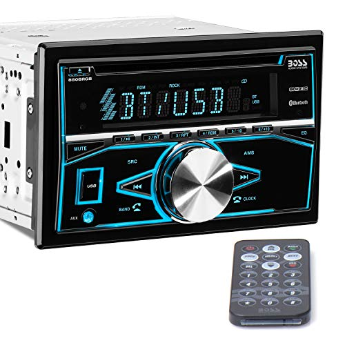 BOSS Audio Systems 850BRGB Car Stereo - Double Din, Bluetooth Audio and Calling, MP3 Player, CD, USB Port, AUX Input, AM/FM Radio Receiver, Multi Color Illumination