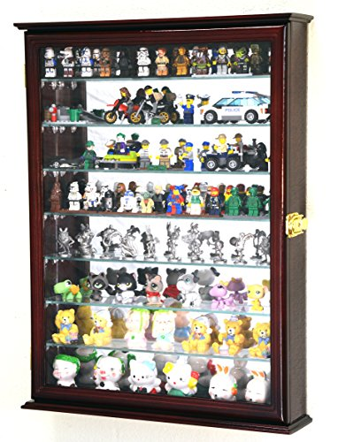 sfDisplay.com,LLC. Large Figure Men Minifigures/Minature Figurines Display Case Cabinet w/Adjustable Shelves (Cherry Finish)