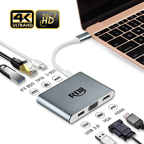 USB C Dock, RDII 6 in 1 USB C hub to 4K Hdmi, Vga, USB 3.0 X 2, Megabit Ethernet, 60W USB C PD Charging for MacBook Pro, New MacBook 12 Inch, Huawei Matebook, Chromebook Pixel 2015 (Aluminum, Grey)