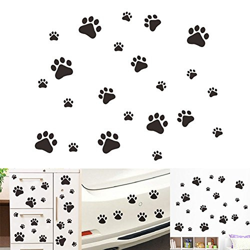 VintageBee Dog Paw Prints Sticker Dog Pup Removable Vinyl Wall Sticker Decoration Décor for Children Nursery Room Home Décor Art Mural DIY 20 Pack