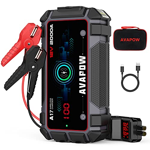 A V A P O W Car Jump Starter 2000A Peak 16800mAh Jump Boxes for Vehicles(12V 8L Gas/6.5L Diesel Engine) Equipped Fast Wireless Charging and USB QC 3.0 with 400 Lumen LED Jump Starter Battery Pack