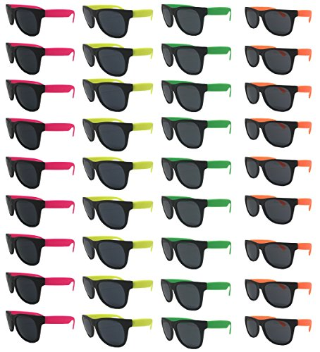 Neon Sunglasses (Pack 36) Assorted Cool Colors Neon Sunglasses Party Favors-Pack Wholesale Bulk for Adults Kids