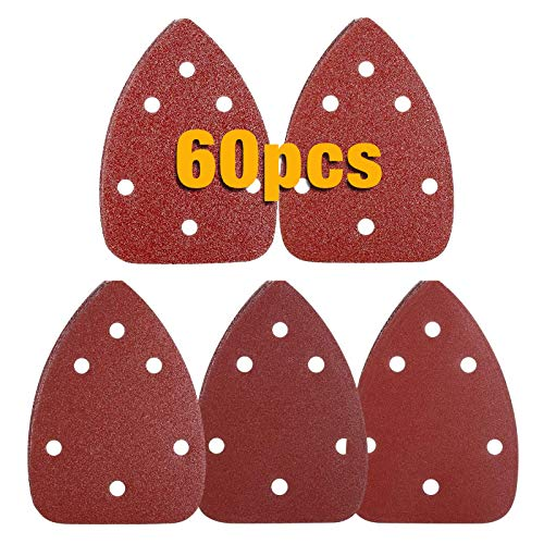 TECCPO Sandpaper, 60Pcs Mouse Detail Sander Sheets, 60/80/120/180/240 Grits Hook and Loop Sanding Discs for Grinding and Polishing - TASP31A