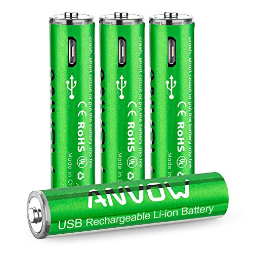 ANVOW - Rechargeable AAA Lithium Batteries - Triple AAA Battery 1.5V 800mWh Micro USB Charge with 4-in-1 Charging Cable - 4 Count