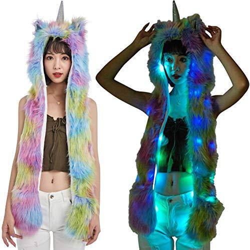 Light Up LED Color Changing Rave Spirit Animal Fluffy Fur Hat Hood (Rainbow Unicorn)