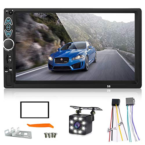 Double Din Car Stereo,Upgraded Version 7 Inch Touch Screen Car mp5 Player Support Backup Rear View Camera fm Radio Car Audio with Hands-Free Mirror Link.