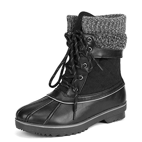 DREAM PAIRS Women's Monte_01 Black Mid Calf Winter Snow Boots Size 8 M US