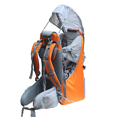 Baby Toddler Hiking Backpack Carrier Camping Child Carriers with Rain Cover Stand Child Kid Sun shade Visor Shield,Holds up to 50 Pound Ideal for Children Between 6 months-4 years Old (A-orange)