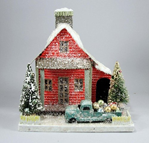 Cody Foster Christmas Village 10.5' Special Delivery Red House with Pick Up Truck