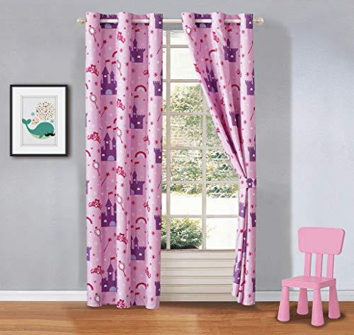 Elegant Home Design Multicolors Kids Room Window Curtain Treatment Drapes 2 Piece Set with Grommets (Princess Palace)
