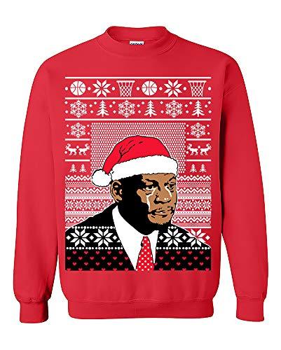 Jordan Crying face Funny Ugly Christmas Sweatshirt Holiday Crewneck Sweater Red