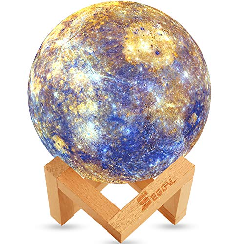 SEGOAL Moon Lamp Moon Light Kids Night Light Galaxy Lamp 16 Colors LED 7.9 Inch 3D Star Lamp with Wood Stand, Touch & Remote Control & USB Rechargeable Baby Light Mercury lamp