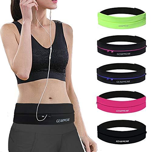 GEARWEAR Runners Running Belt Waist Pack for iPhone 8 X 7 Plus Women Men Workout Pocket Belts Phone Holder Waistband Samsung Galaxy Note S8 S7 for Wallking Fitness Jogging Black Zipper