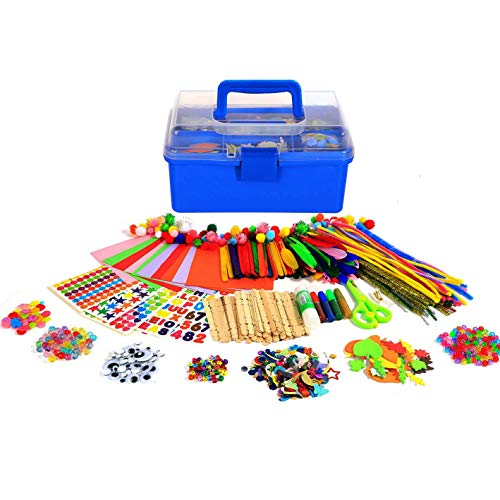 Arts and Crafts Supplies for Kids -1000+ pcs Art Craft kit in Carrying Travel Box for Kids Toddlers Ages 4 5 6 7 8 9 10 -All in One D.I.Y Crafting School Kindergarten Supplies Kids Project Activity