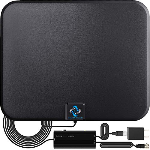 U MUST HAVE Amplified HD Digital TV Antenna Long 250+ Miles Range - Support 4K 1080p Fire tv Stick and All Older TV's - Indoor Smart Switch Amplifier Signal Booster - 18ft Coax HDTV Cable/AC Adapter