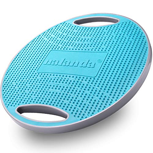NALANDA Wobble Balance Board, Core Trainer for Balance Training and Exercising, Healthy Material Non-Skid TPE Bump Surface,Stability Board for Kids and Adults (Blue&Grey C)
