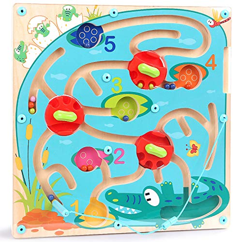 TOP BRIGHT Magnetic Maze Game for Kids, Magnetic Puzzle Board Games for Toddlers, Number Counting Magnetic Color Maze STEM Gift for Toddlers 2 3 Year Old