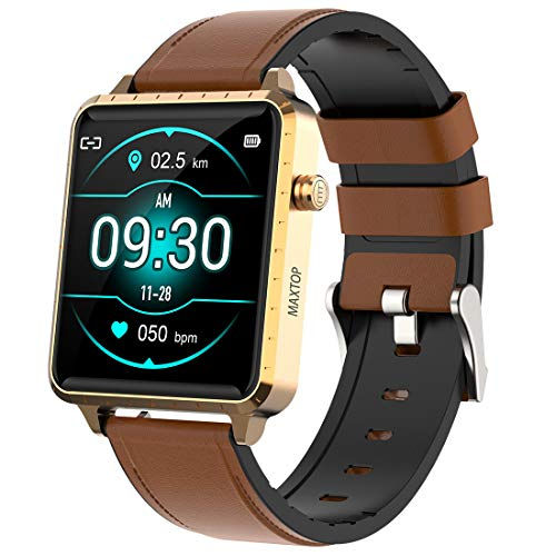 Smart Watch Compatible iPhone and Android Phones, Fitness Tracker with Heart Rate Sleep Blood Pressure Monitor, IP67 Waterproof Digital Watch, Step Counter Sport Smartwatch for Women Men (Gold)