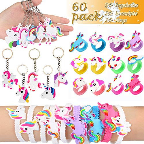 Aitey Unicorn Party Favors, Unicorn Birthday Theme Supplies Assorted Kit, Bracelets, Rings and Keychains Bulk Toys for Carnival Prizes, Classroom Rewards for Kids - 60 Pack