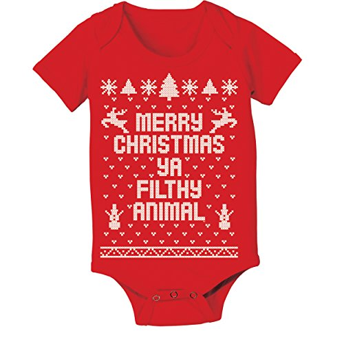 Ya Filthy Animal Merry Christmas Ugly Christmas Sweater Contest Party Baby One Piece 6 Months Red