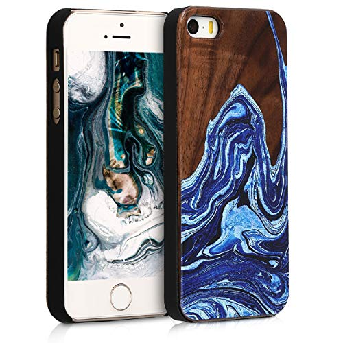 kwmobile Case Compatible with Apple iPhone SE (1.Gen 2016) / 5 / 5S - Wood Case Hard Wooden Design Cover - Watercolor Waves Dark Blue/Light Blue/Dark Brown